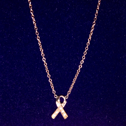 14k Rose Gold and Diamond Breast Cancer Ribbon Necklace Kats